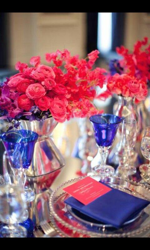 Royal Blue Fushia Table Setting Pink Wedding Theme Blue