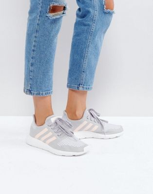 366765fa4 adidas Originals Swift Run Trainers In Grey With Pink Stripe