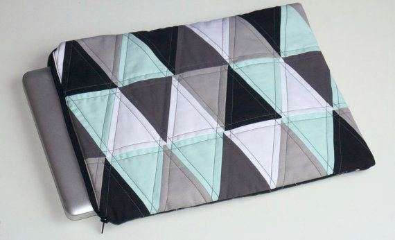 Geometric Quilted Triangle Laptop Case by stitchstitchdesigns #geometric #triangles