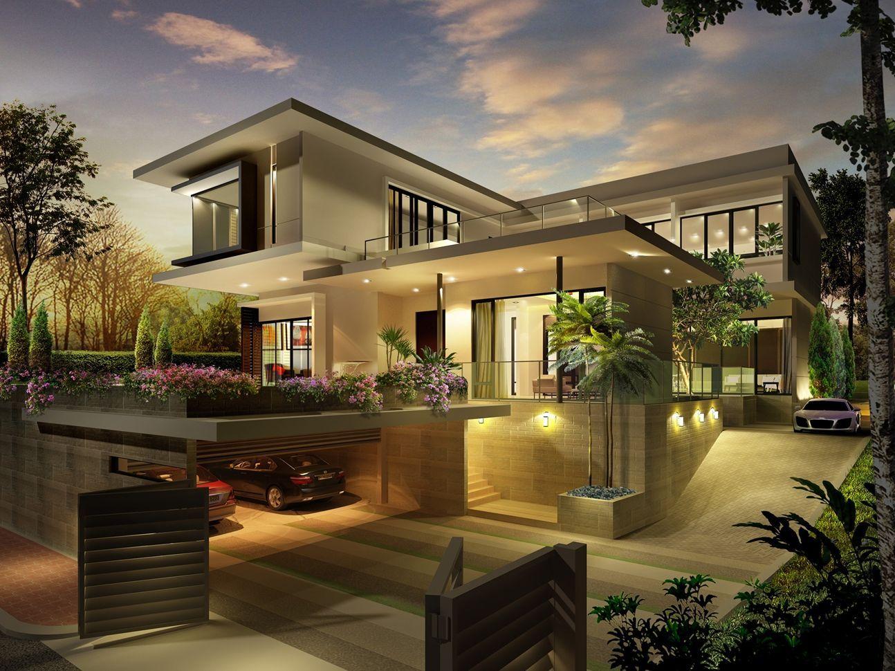 Pavilion Villa With Basement Car Park Modern Exterior House Designs Modern House Exterior House Architecture Design