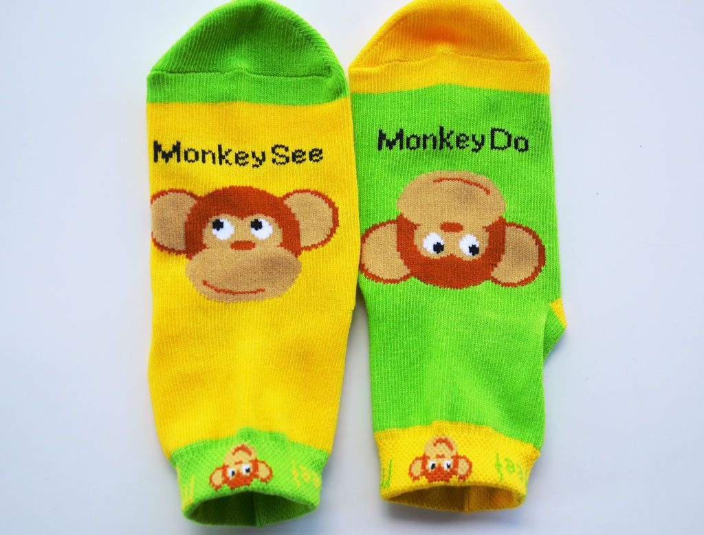 #Monkey #socks #kids #toddlers #learning #giftideas #helpful #tips #moms Mismatched childrens' sock designed to bring style to your toddler and help them learn simple words.  -Non-Skid Sole designed with rubber grippers  -Lycra cuff keeps sock secure on foot