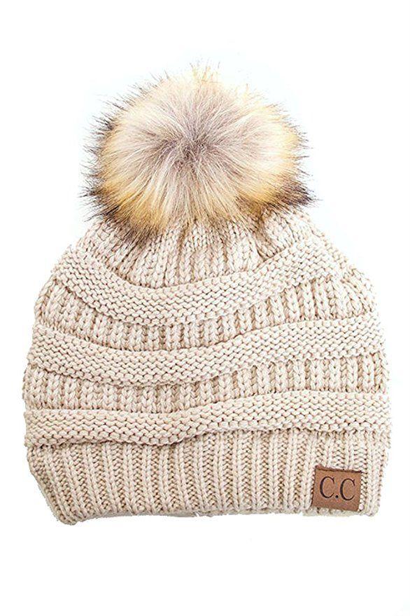 41f7b06b45ed6 Plum Feathers Soft Stretch Cable Knit Ribbed Faux Fur Pom Pom Beanie Hat  (Beige)