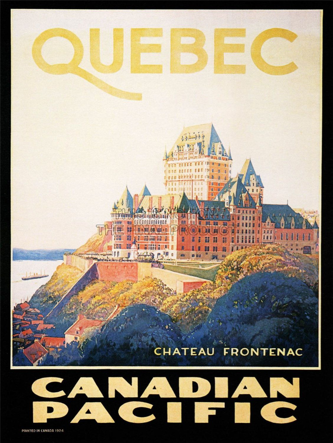 vintage posters for kitchen cabinets cheap travel quebec canada canadian pacific chateau frontenac