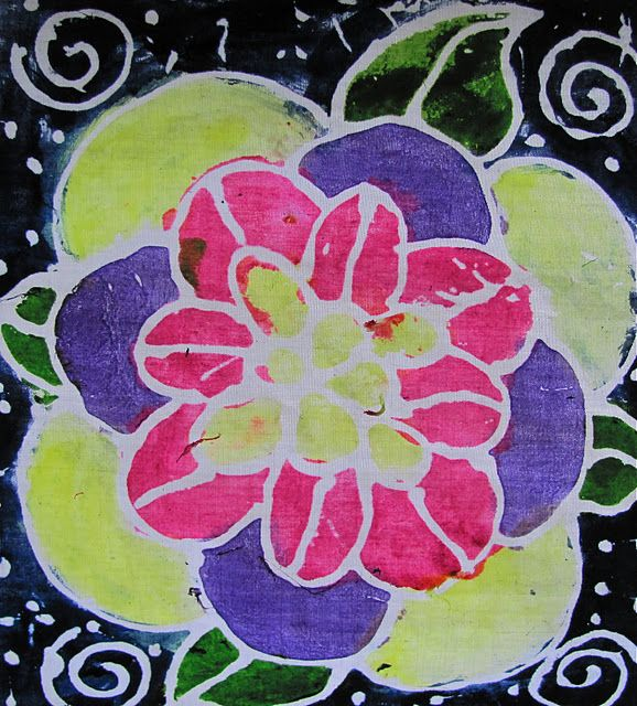 Glue Batik: Fabric, Blue Gel Glue, Acrylic Paint. This Is