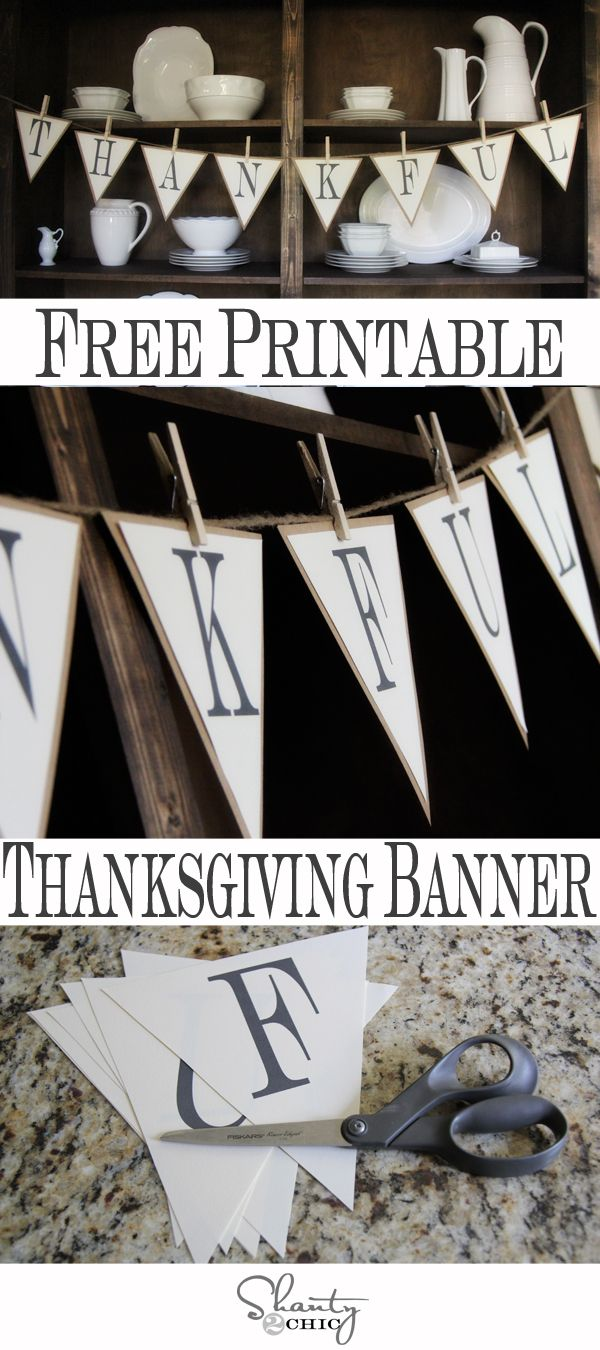 graphic about Printable Thanksgiving Banner titled Totally free Printable Banner for Thanksgiving!!! Becoming Cunning