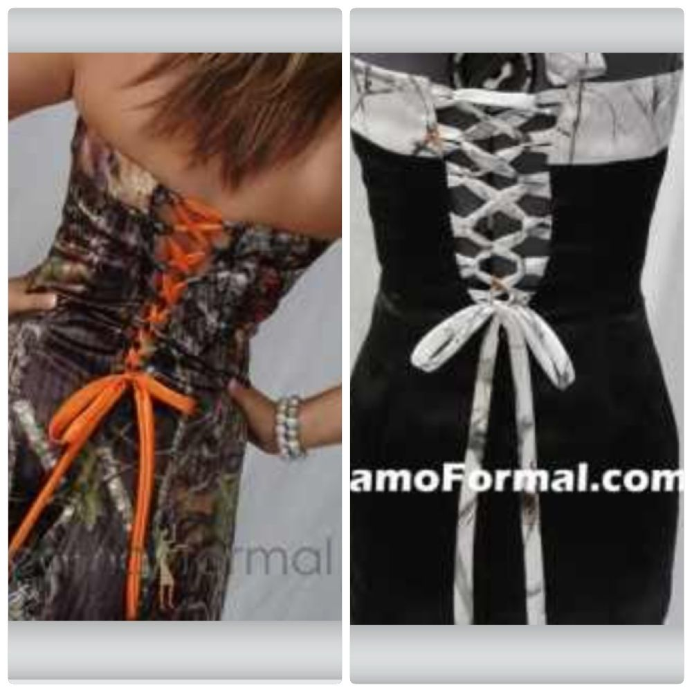 Camouflage Camo Ribbon To Tie A Corset Back Wedding Dress