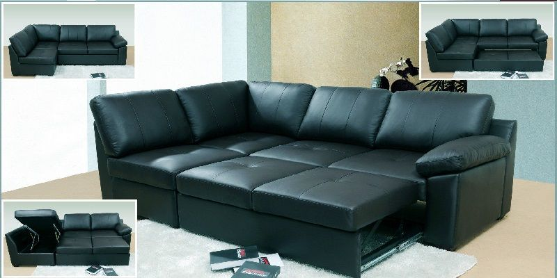 Black Leather Corner Sofa Bed With Images Leather Corner Sofa Corner Sofa Corner Sofa Bed
