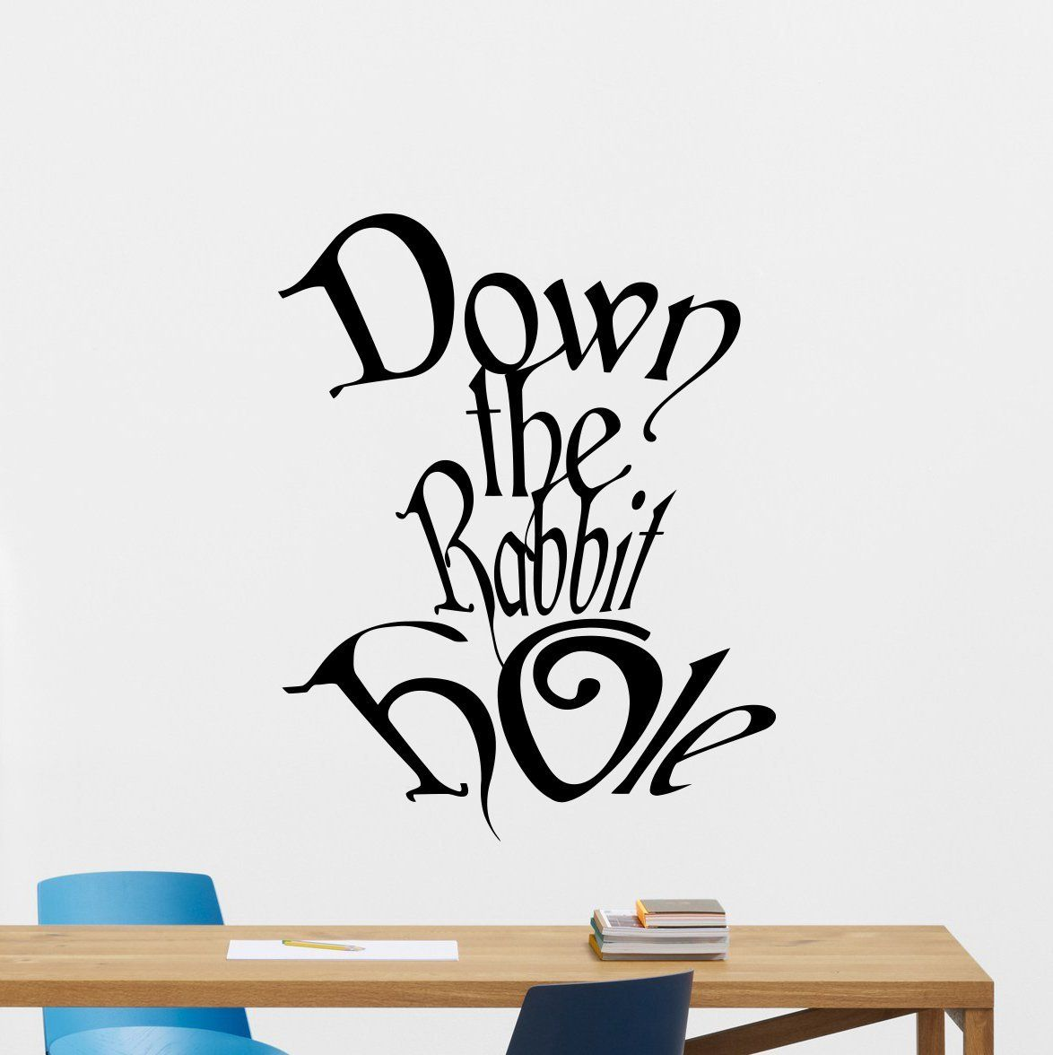 Down the rabbit hole wall decal alice in wonderland vinyl sticker disney cartoon wall art design housewares kids boy girl room bedroom decor removable wall