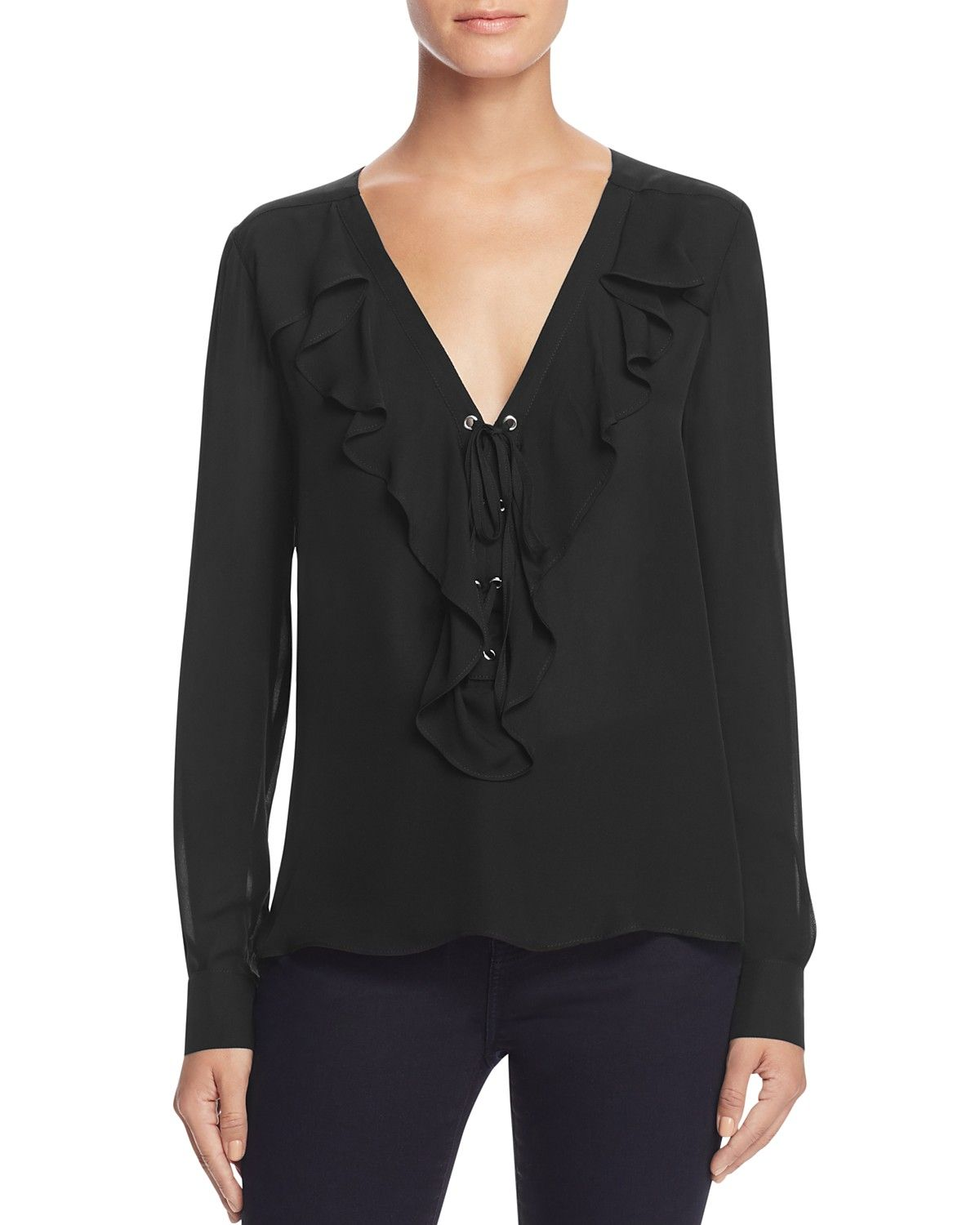 Parker Remy Lace-Up Ruffle Silk Blouse