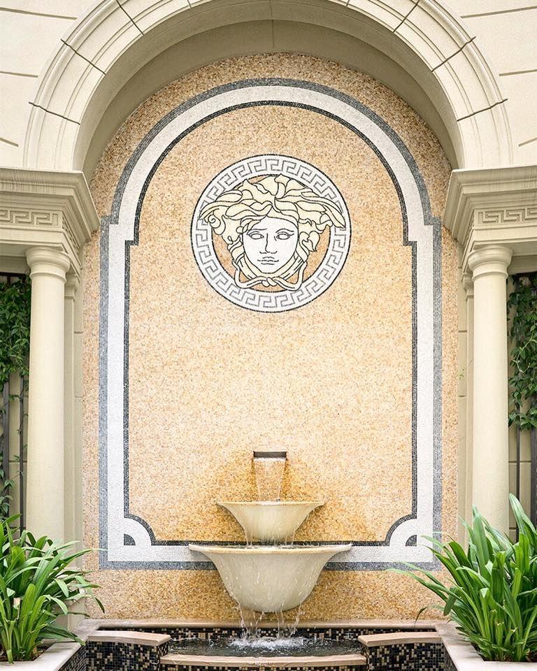Water Feature In Our Italian Garden Palazzoversacedubai Inspiringluxury Waterfeauture Fountain Versace Dubai Garden Fountains Italian Garden Fountains