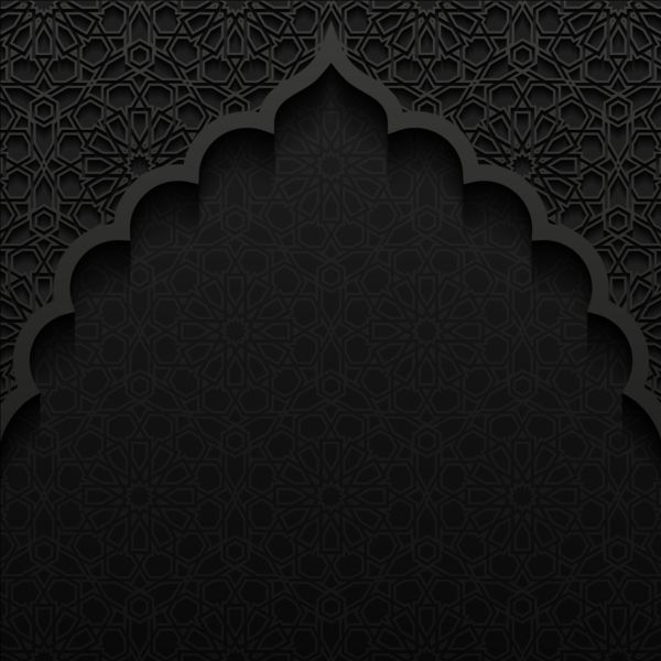 Islamic Mosque With Black Background Vector 03 Calligraphy Wallpaper Free Vector Backgrounds Poster Background Design