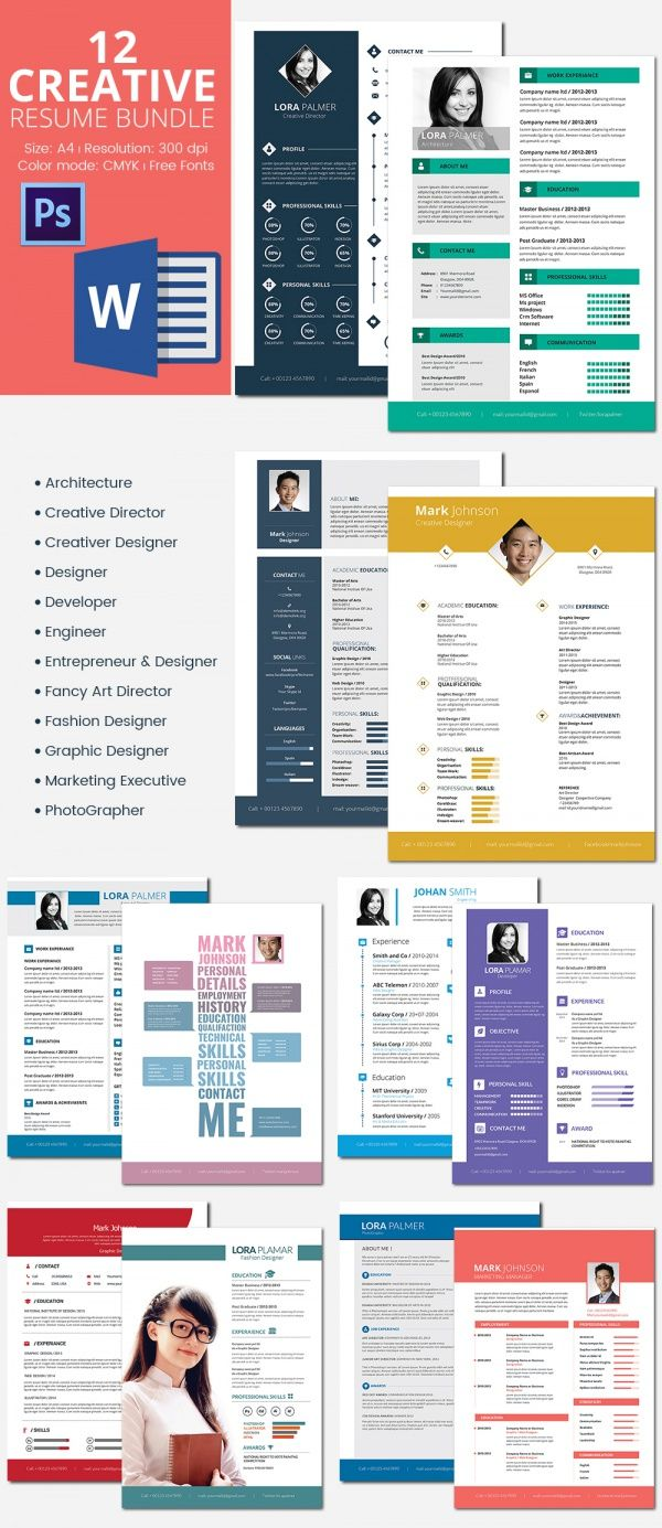 Creative Resumes Bundle  Mac Resume Template  Great For More