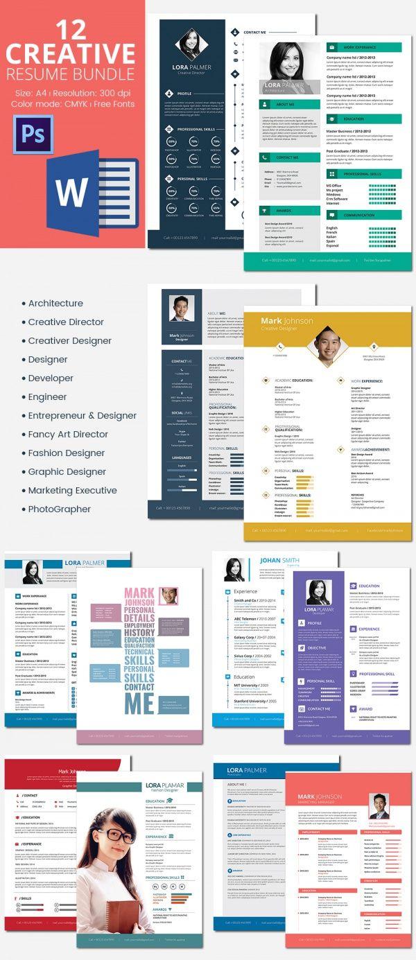 Creative Resumes Bundle  Mac Resume Template  Great For More