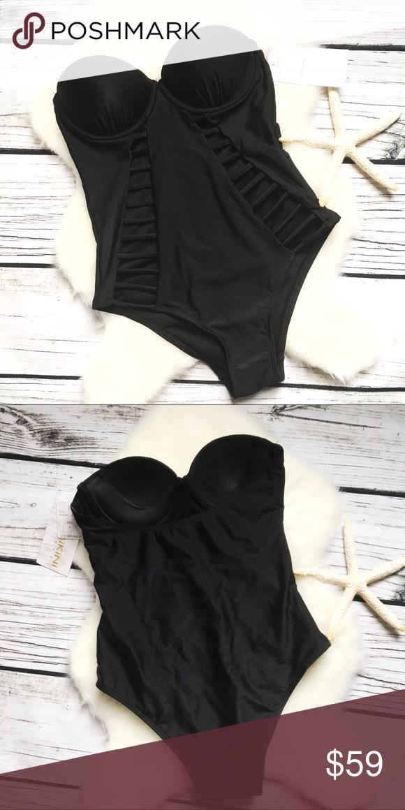 f7d4a41f330e5 TINIBIKINI Swimwear • Strapless Caged One Piece S TINIBIKINI Swimwear Black  Strapless Caged One Piece Swimsuit