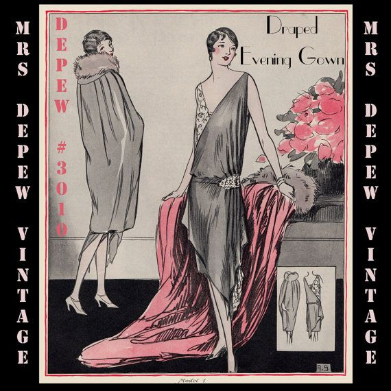 Vintage Sewing Pattern Instructions 1920\'s Flapper Easy Draped ...