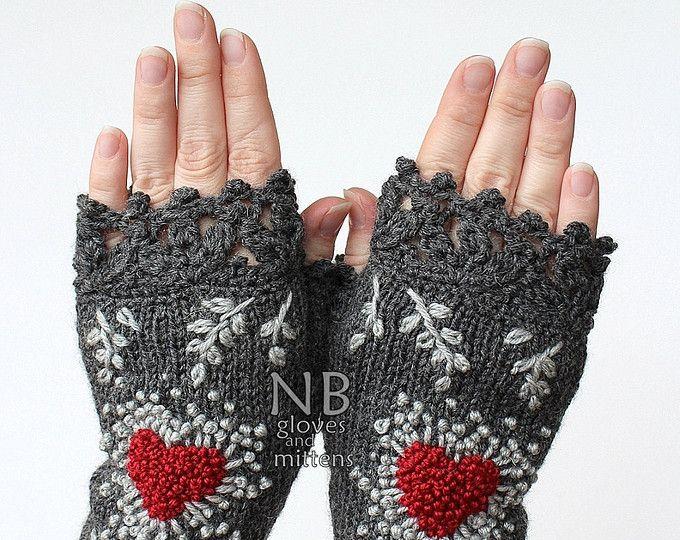 Knitted Fingerless Gloves, Heart, Gloves & Mittens, Gift Ideas, Dark ...