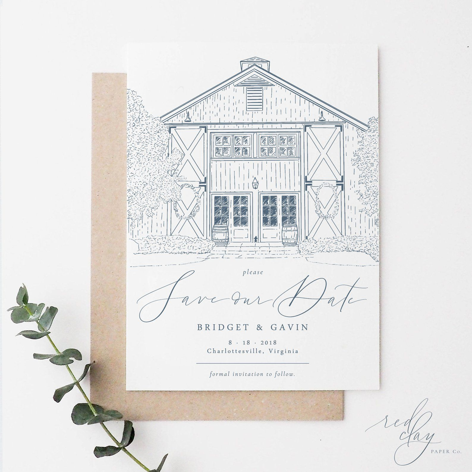 Custom Venue Save The Date Cards Wedding Venue Illustration