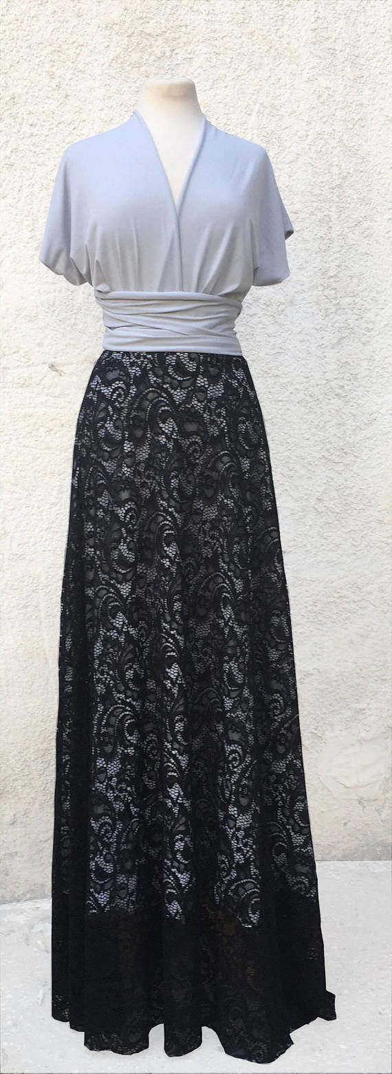 Black lace overlay maxi skirt, detachable long skirt for