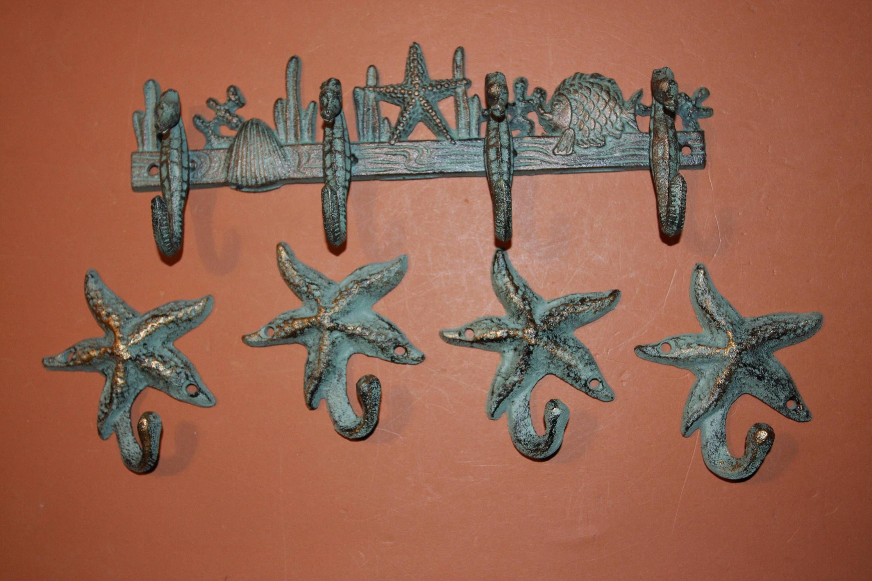 48 Cast Iron Antique Style Nautical STARFISH Coat Hooks Hat Hook Rack Towel