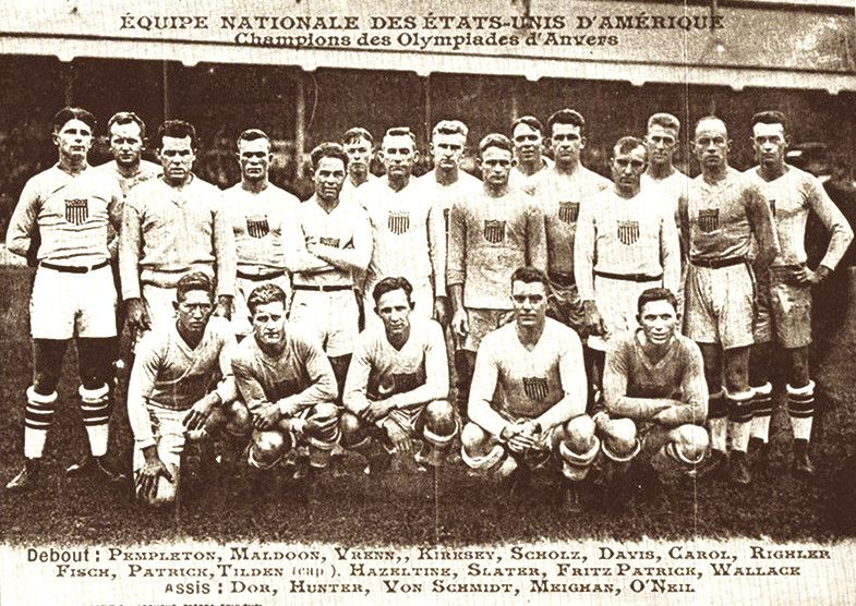 RUGBY: The United States rugby union team that played France on 10 October 1920 at Colombes Stadium. Only the U.S. and France had teams in the Olympic championship. The U.S. upset France, 8-0.