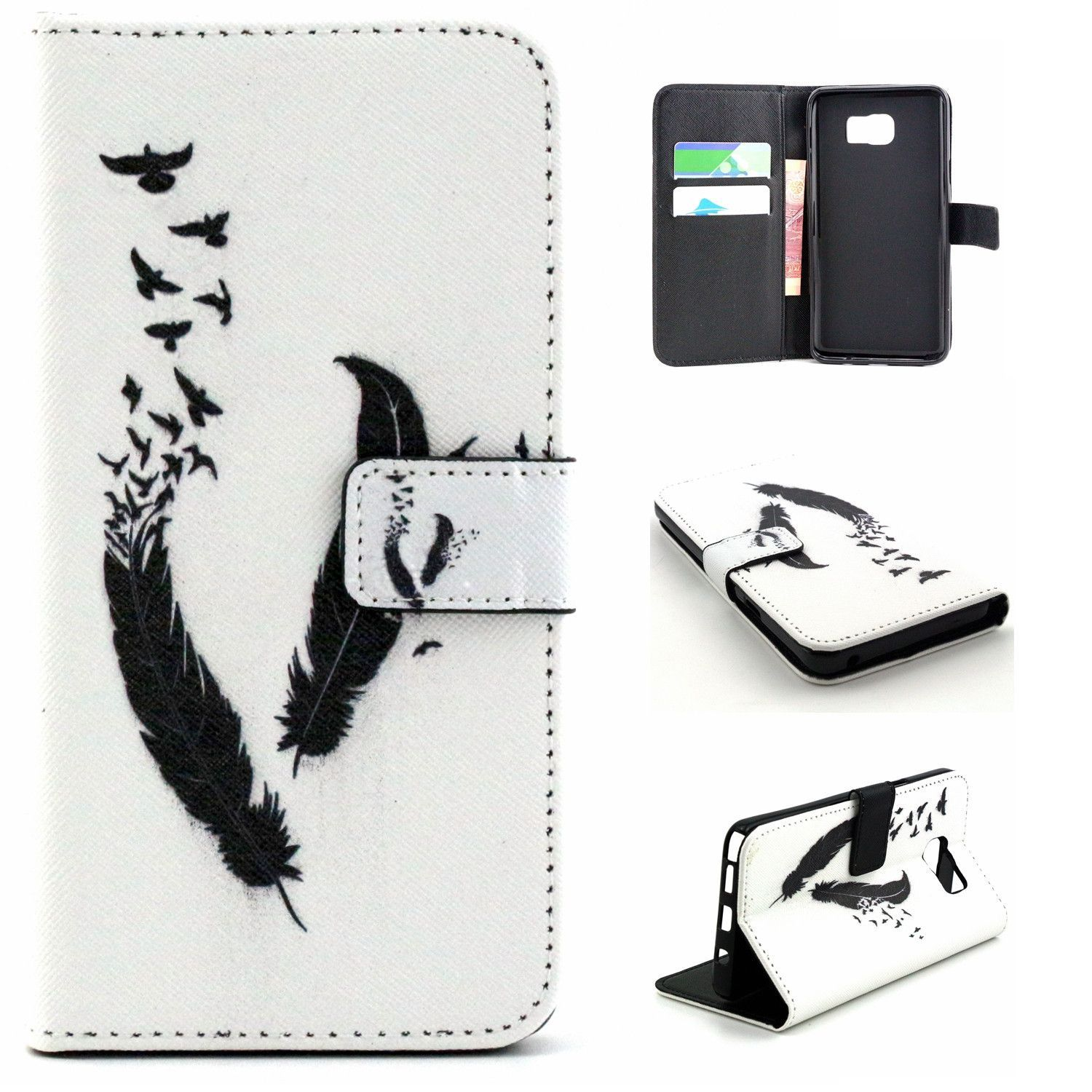 Samsung Galaxy Note 5 Leather Wallet Case With Magnetic Closure - Feather Doves