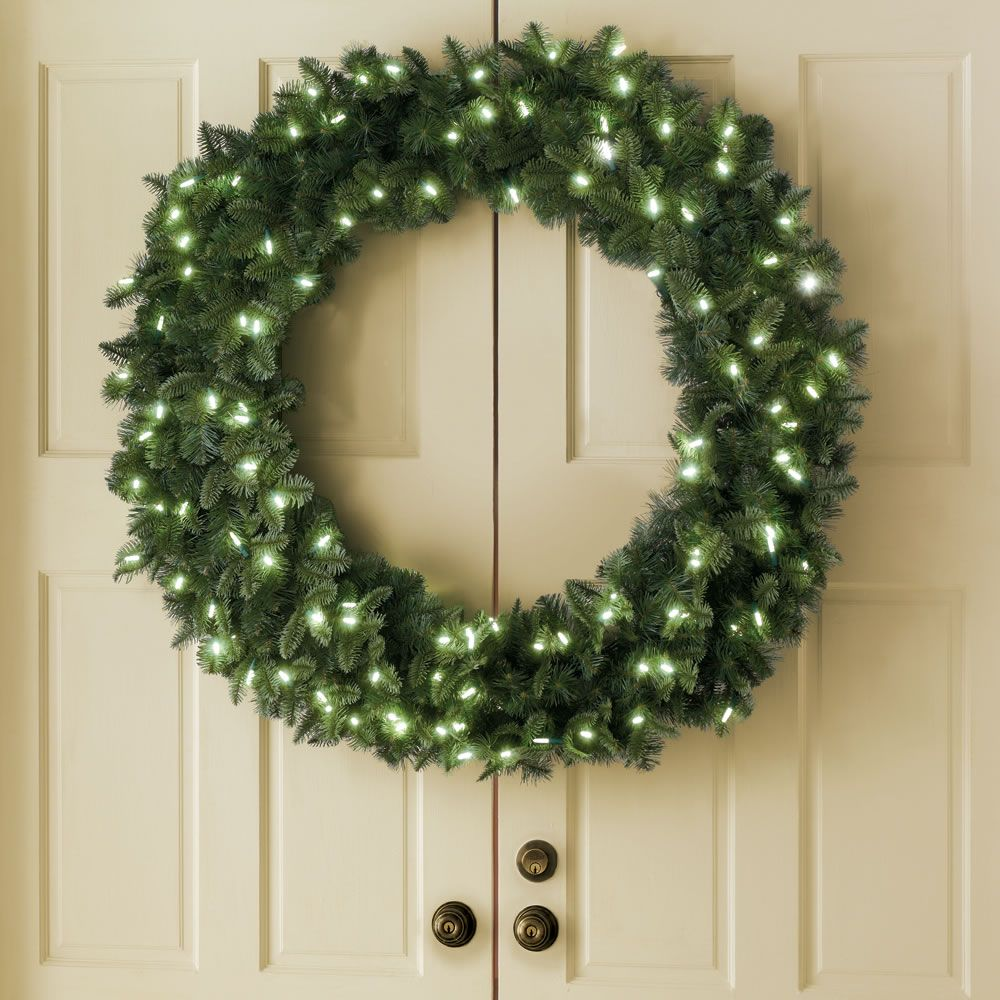 The Place Anywhere Cordless Prelit Double Door 48 Inch Split Wreath Hammacher Schlemmer Double Doors Double Door Wreaths Wreaths