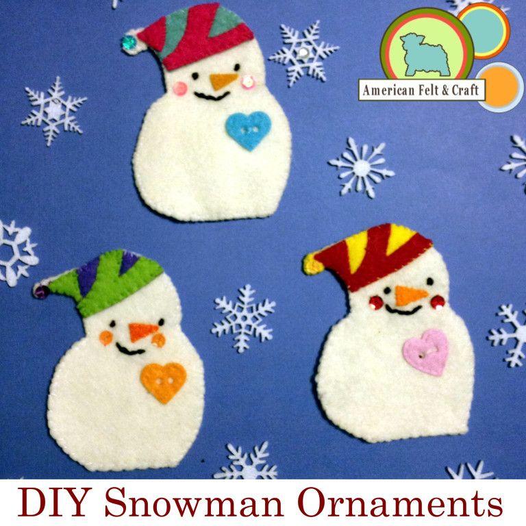 Sequined Snowmen Felt Christmas Ornament Tutorial #feltchristmasornaments
