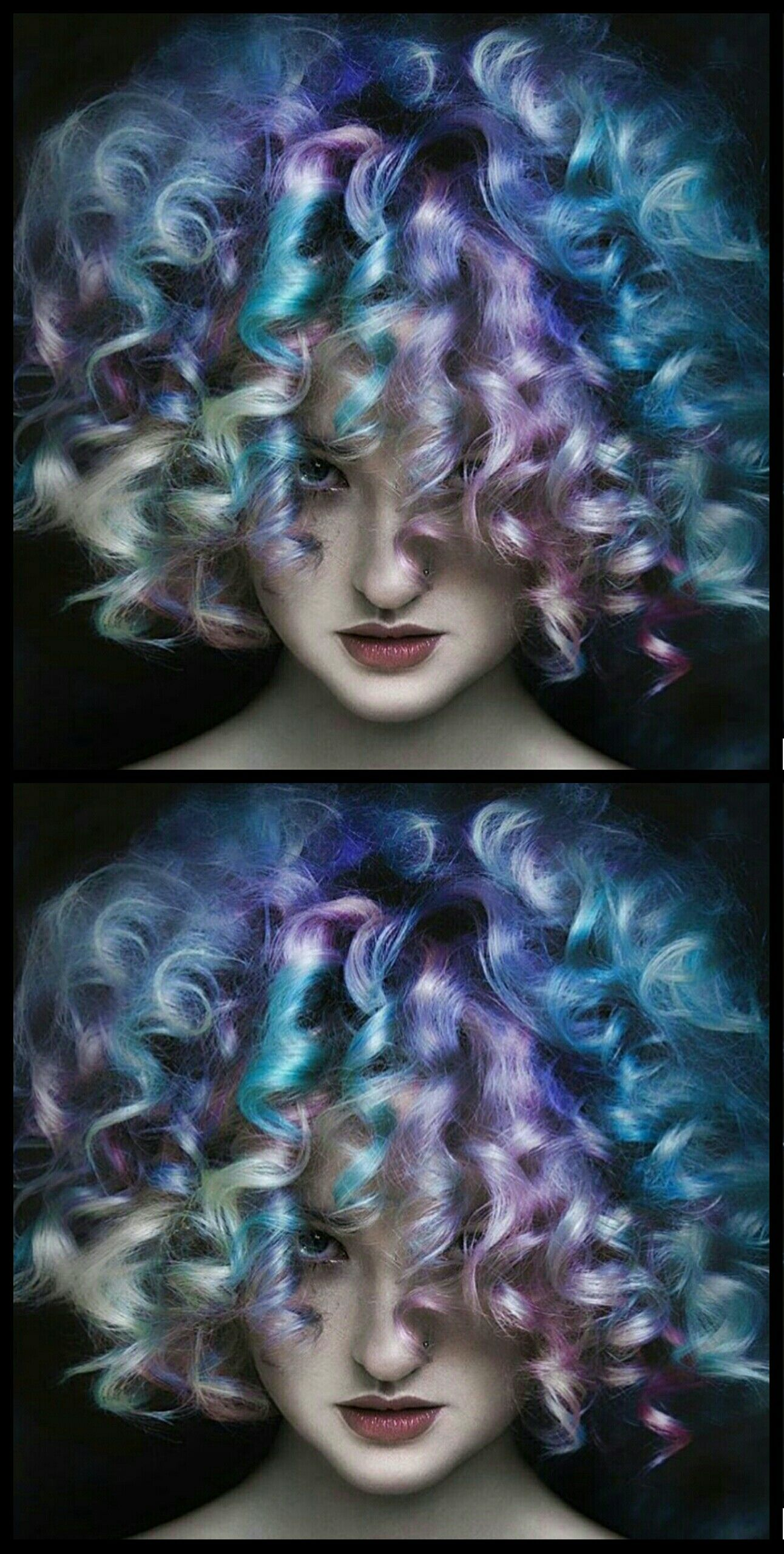 Dyed curly multi hair @bottleblonde76 Beauty: Fantasy Unicorn Purple Violet Red Cherry Pink yellow Bright Hair Colour Color Coloured Colored Fire Style curls haircut lilac lavender short long mermaid blue green teal orange hippy boho ombré woman lady pretty selfie style fade makeup grey white silver trend trending Pulp Riot