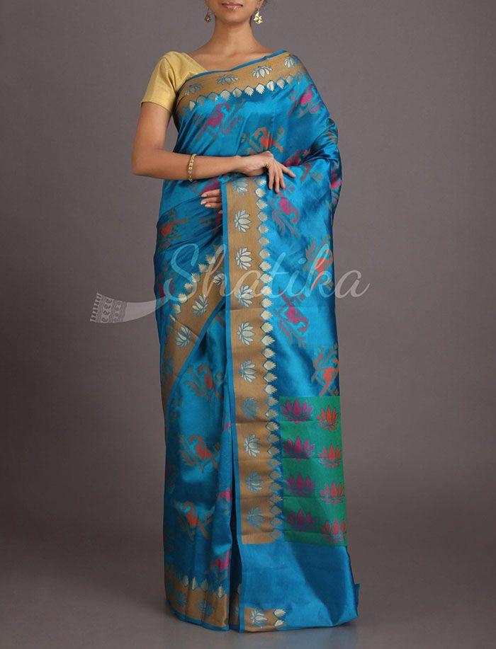 Neelam Parrots And Lotuses Pure #BanarasiTussarSilkSaree