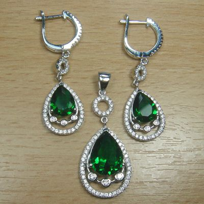 Massjewelry - Pear Cut Emerald Green White CZ 925 Sterling Silver Cocktail Jewelry Set