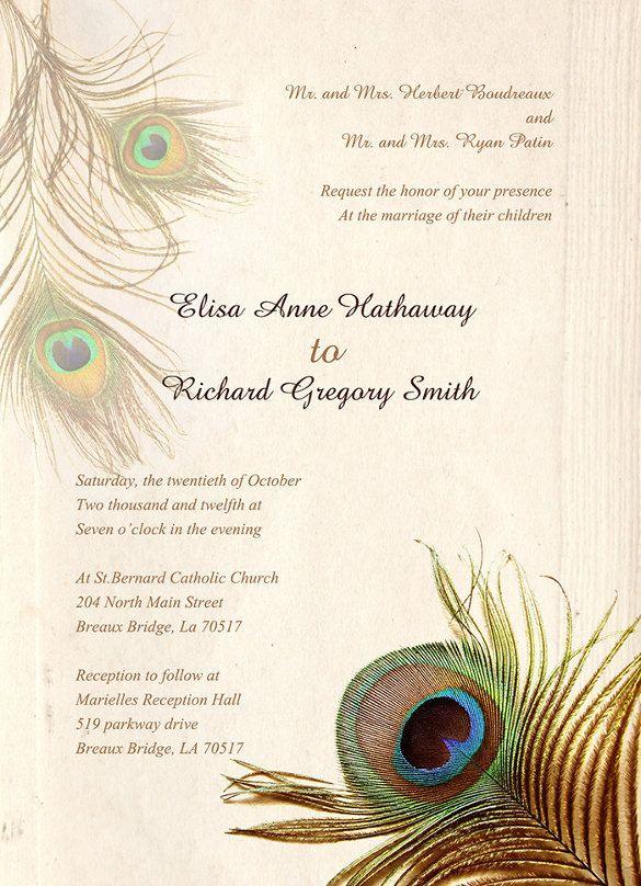 Peacock Wedding Invitation Templates  Free Sample Example
