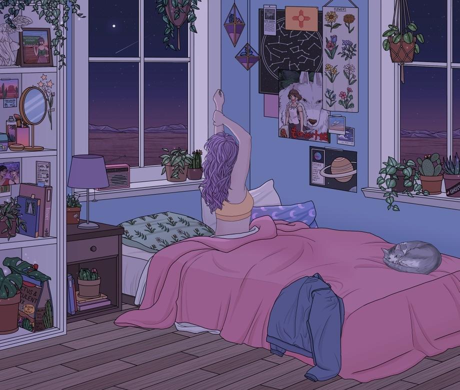 Restless An Art Print By Kelsey Smith In 2020 Bedroom Drawing Cute Art Girls Cartoon Art