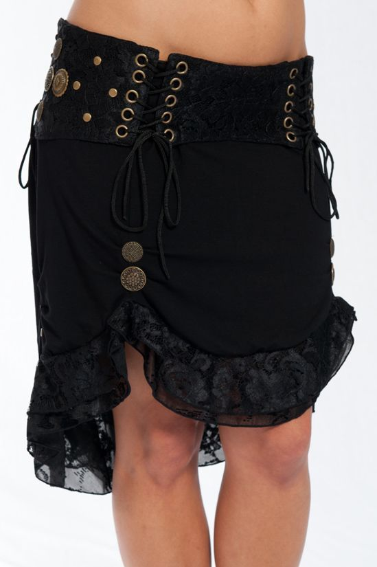 ANDROMEDA SKIRT :- This is a beautiful design by our friend Kye and created by the Etnix crew. Brass decorations over a soft cotton lace combination. Burlesque, Steampunk and Unique all describe this skirt well. One size fits all, adjustable with strings in 3 different places around the waist.