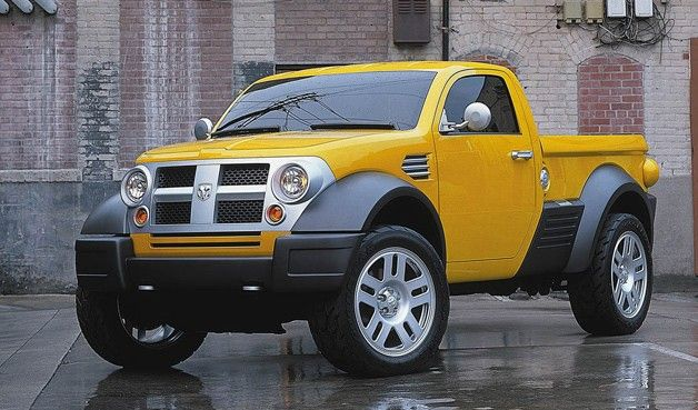 2002 Dodge M80 Small Pickup Concept Yellow Front Three Quarter View