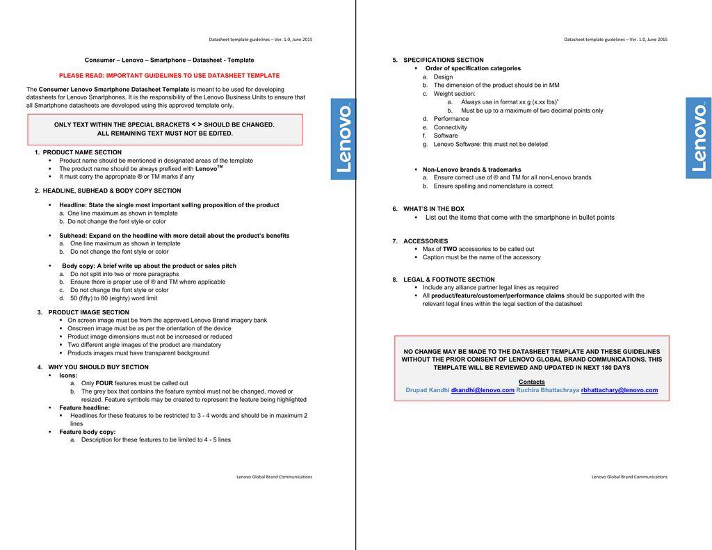Lenovo Vibe K5 Plus Smartphone Data Sheet Template With Datasheet