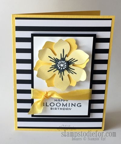 Happy Blooming Birthday Card Yellow Black And White Flower Cards Floral Cards Cards Handmade