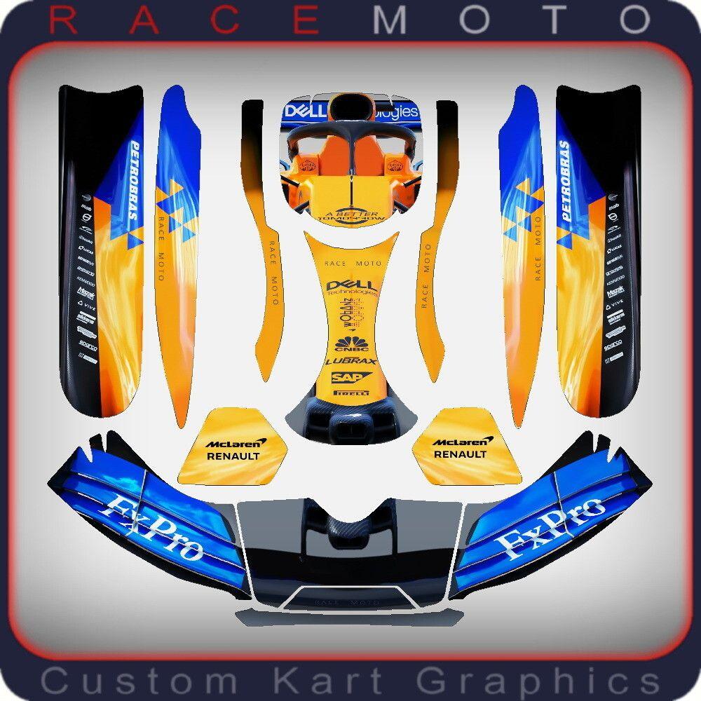 2019 Mclaren Renault F1 Karting Sticker Kit For Kg Bde Buru Duo Pods Nosecone Nassau Panel In 2020 F1 Karting Go Kart Karting