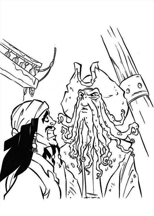 Jack Sparrow Is Arguing With Davy Jones In Pirates Of The Caribbean Coloring Page