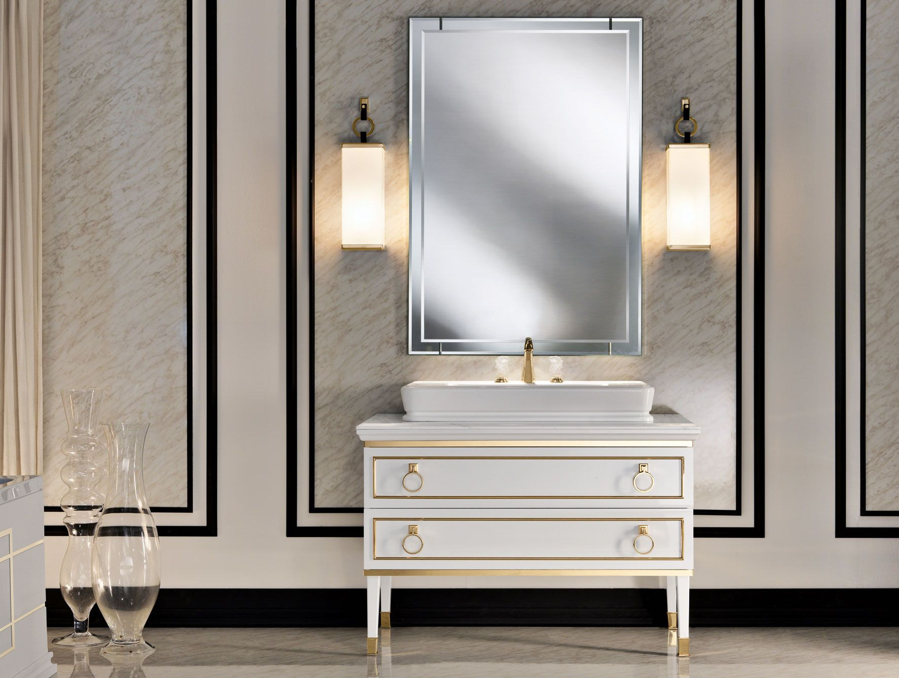 Bathroom Vanity Manufacturers Single Washbasin Vanities For Bathroom With  Double Tube Wall Light And Rectangular Mirror Cool Lights Vanity Ideas For  ...
