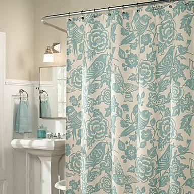 Shower Curtain Light Green Flower Birds Print Thick Fabric Water Resistant W78 X L71 Bathroom Shower Curtains Floral Shower Curtains