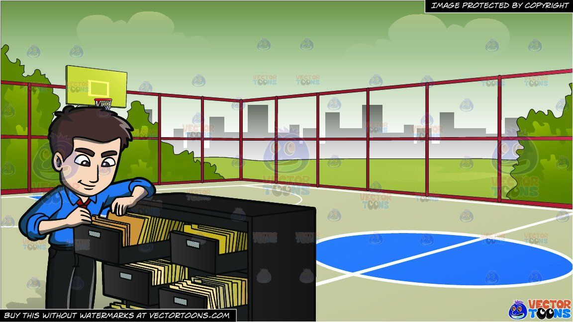 Clipart Cartoon A Male Office Worker Searching For A Folder In The File Room And Outdoor Basketball Court Background Vendor Vec Outdoor Basketball Court Blue Shirt Dress Dark Brown Shoes