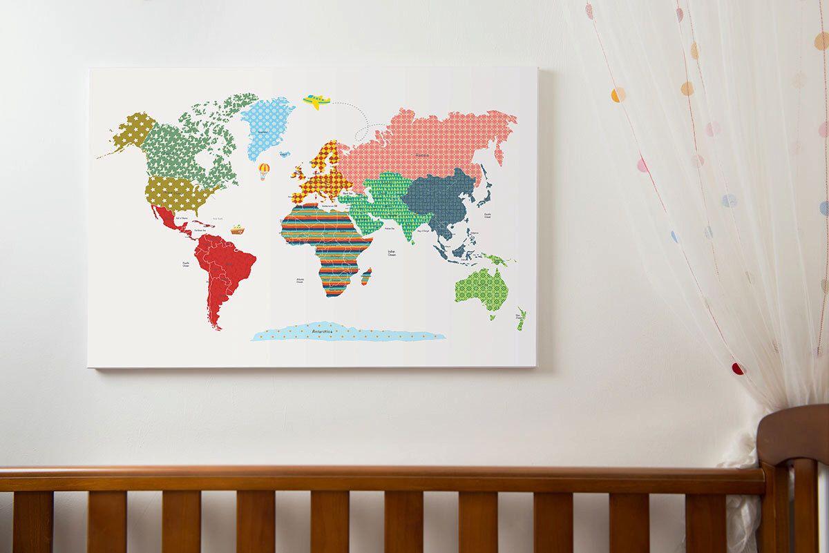 World map poster large world map print kids world map with world map poster large world map print kids world map with countries world map wall art world map canvas wm301b gumiabroncs Images