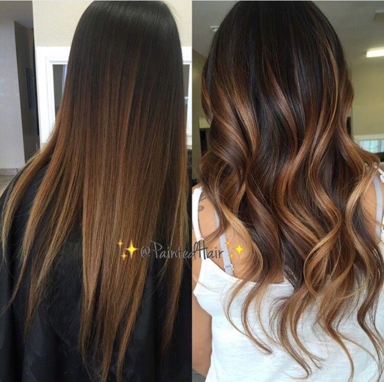 Chestnut Painted Hair Blend Balayage Hair Brunette Hair Hair Styles