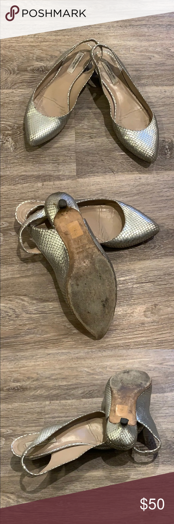 Emerson Fry Low Heel SlingBacks 100% Genuine Leather. Metallic silver animal (snake skin) low heel/flats. Gently Used (reasonably priced).