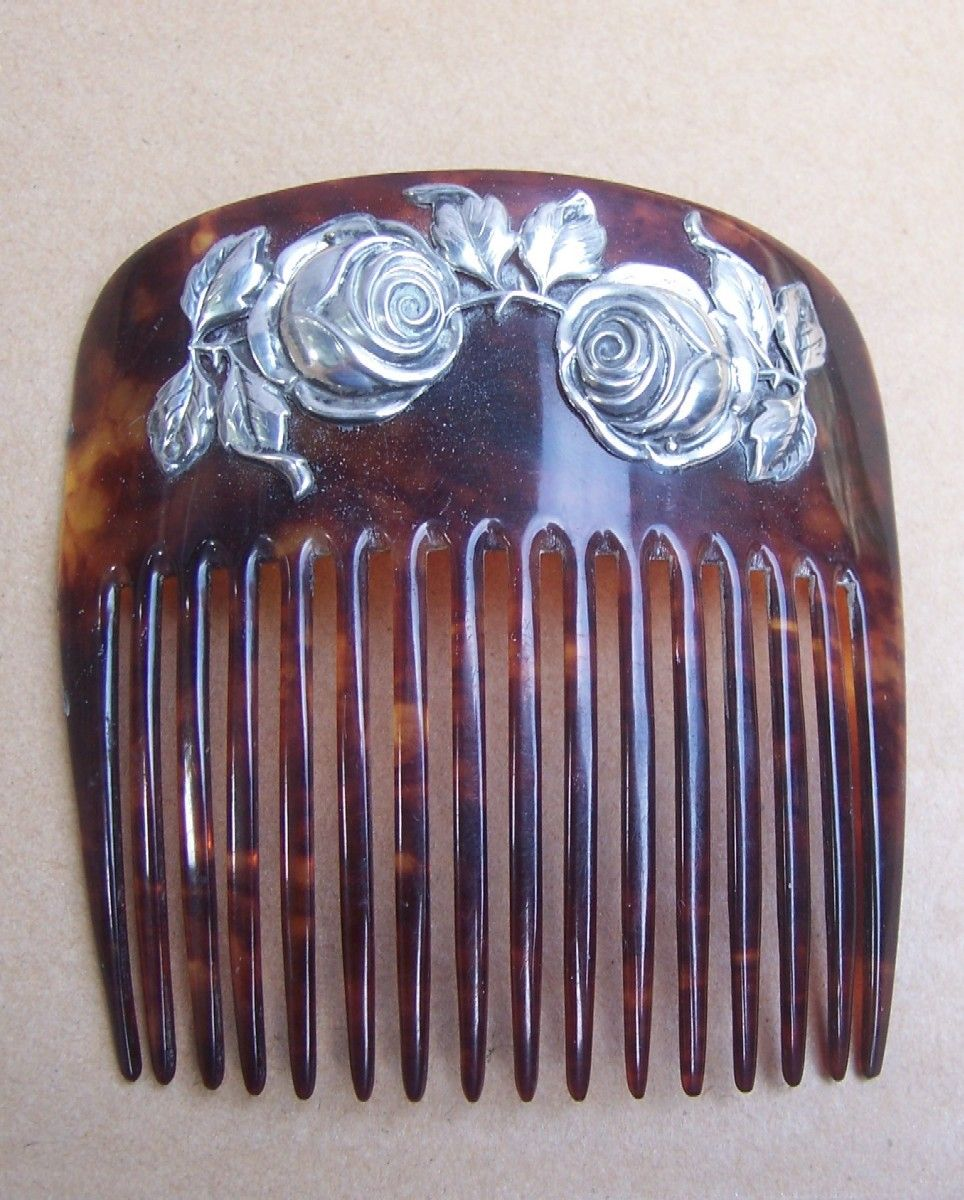 Skonvirke Art Nouveau Hair Comb Silver and Faux Tortoiseshell - Danish Nouvea/Arts and Crafts
