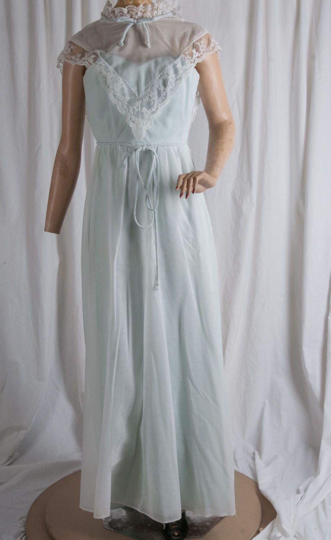 1970s Prairie style full length dress. Pale green, sheer white, lace ...