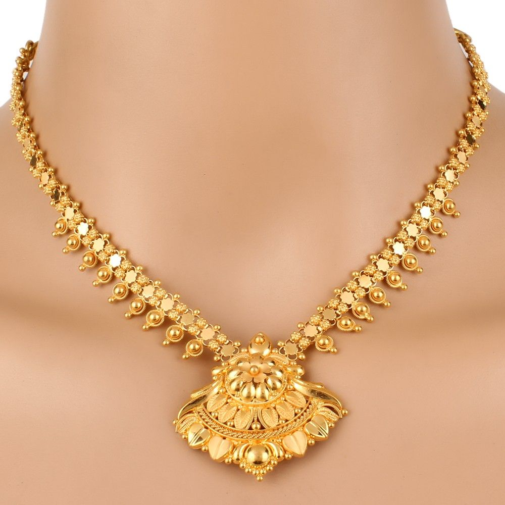 Gold Traditional Necklace Set Gold Jewelry Simple