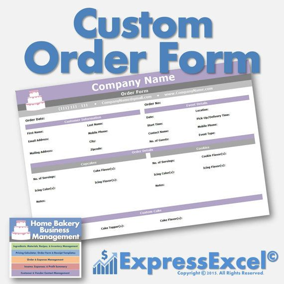 Cake, Cupcake, and Cookie Decorating Business Printable Order Form - order form template microsoft