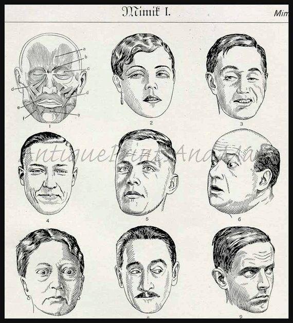 Mimic Facial Expressions Acting Unusual by AntiquePrintsAndMaps, $12.00