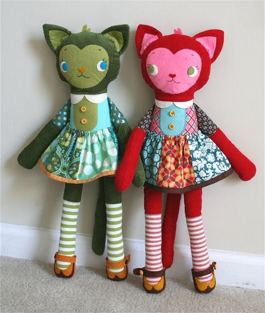 Katy Kitty PDF Pattern With Bonus Coat Pattern | Muñecos de tela ...